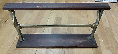 Vintage Country Store Butcher Paper Wood Cast Aluminum Paper Cutter Roll Holder
