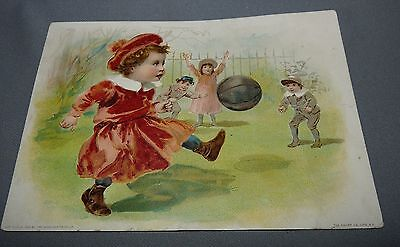 Lion Coffee Advertising Card Woolson Spice Co. Toledo OH Children with Ball 1894
