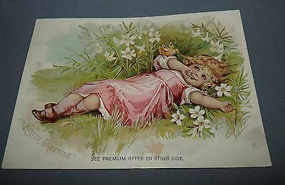 Lion Coffee Advertising Card Woolson Spice Co. Toledo OH Girl in Flowers 1894