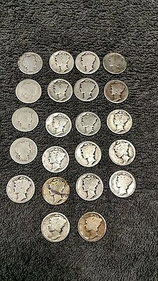 $2.20 Face, Worn, Early Mercury and Barber Dimes, 90% Silver lot