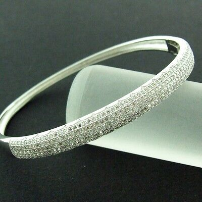 279 Genuine Real 925 Diamond Simulated Sterling Silver Ladies Bangle Bracelet