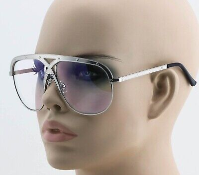 OVERSIZED VINTAGE RETRO SHIELD Style Clear Lens EYE GLASSES Silver Metal Frame