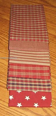 Dunroven House 6 Primitive Homespun Red / Wheat / Navy Fabric Fat Quarters