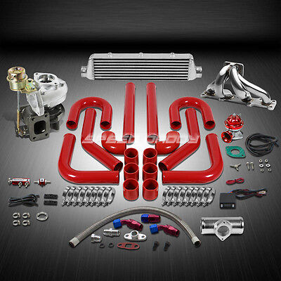 T25/t28 Td04 250Hp+9Pc Turbo Charger+Manifold+Intercooler Kit For Miata Mx5 Bp14
