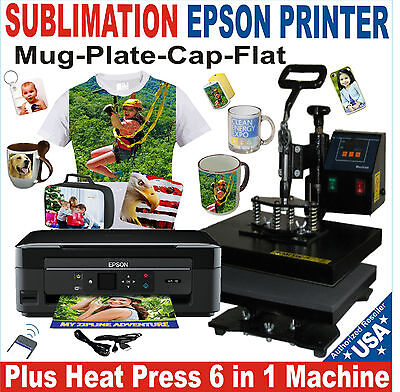 6 in 1 HEAT PRESS TRANSFER SUBLIMATION T-SHIRT HAT MUG 15X15 + PRINTER EPSON