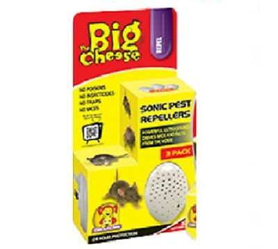Latest 3pc The Big Cheese Sonic Mouse & Rats Pest Repeller 24H Child Pet Safer