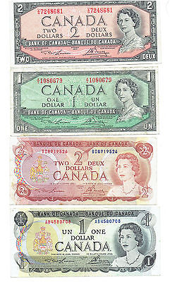 Lot of 4 Canadian Dollars 1954 $1 & $2 Bills 1973 $1 1974 $1 Bill w/ Plastic