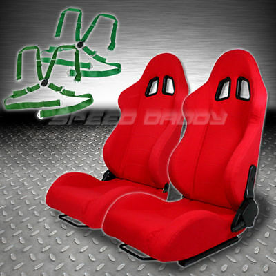 2 X Universal Type-F1 Red Woven Upholstery Racing Seat+4-Pt Camlock Green Belt
