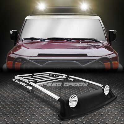 Chrome Oe Style Roof Rack+Air Dam+Fog Light+Lamp Cover Kit For 07-14 Fj Cruiser