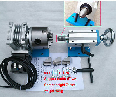 CNC Dividing Head 4th Rotary Axis 3Jaw Lathe Chuck 80mm + Tailstock for Router