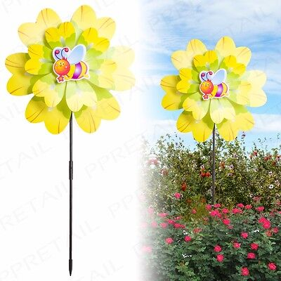 75cm TALL Double Flower Garden Patio Windmill Spinner Decoration Wind Mobile Big