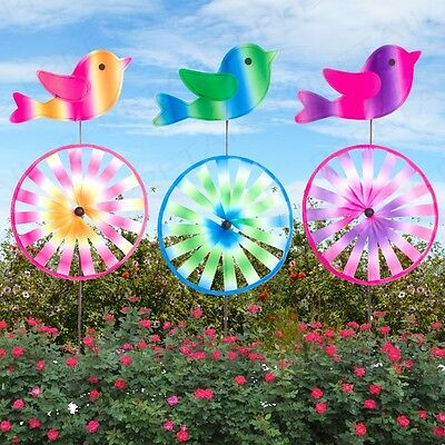 LARGE Colourful Bird Wind Spinner Spinning Garden Windmill Decoration 1/2/3 Pack