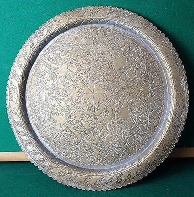 """Antique - Metal - Old Tray - Patterned / Engraved - 16"""" Across - 1Kg - Rare"""