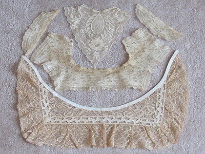 Gorgeous Antique Handmade Lace Collar Cuffs Mixed Lot Estate Old
