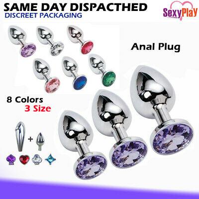 Stainless Steel Anal/Butt Plug with bright Crystal/Jewel 3 Colors, Size S/M/L
