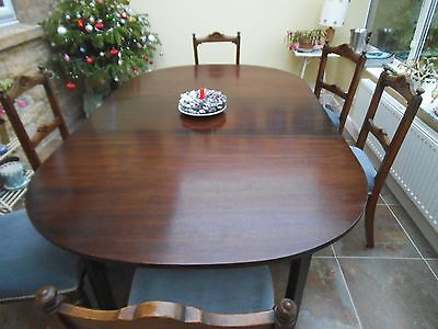 Antique George 111 Mahogany D - End  Dining Table With Leaf Seats 8