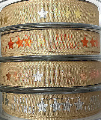 25,15mm 1m BERISFORDS CHRISTMAS RIBBON ROSE GOLD SILVER COPPER STARS ON NATUTRAL