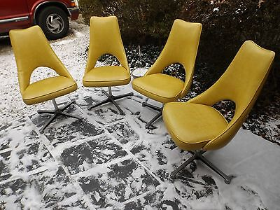 4 Super Retro Mid Century Modern Canary Yellow Vinyl Kitchen Chairs Chromcraft