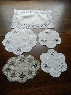 Five vintage Irish linen table mats with Lefkara embroidery and needlelace
