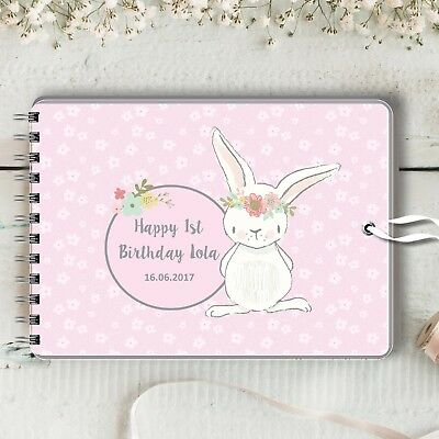 Personalised Guest Book Pink Bunny Naming Christening Baptism Baby Shower 2 Size