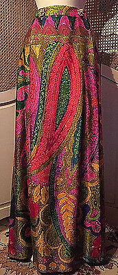Vintage Bright Multi Colored Psychedelic Wrap Maxi Skirt By Personal~Size Large