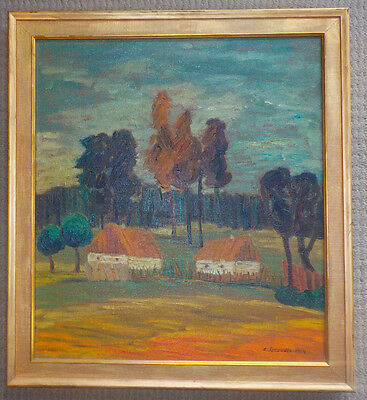 Mid Century Oil On Canvas Landscape Painting, Signed, Nice work!