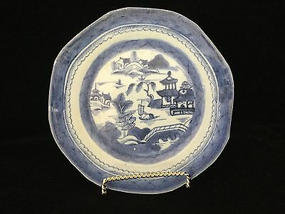 """Antique 19th c. Chinese Export Blue Canton 7 1/2"""" Plate                 #2812"""