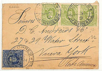 MM55 1914 Uruguay *FRAY BENTOS* Banking Cover USA New York {samwells-covers}