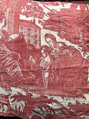 Antique C 1800s French toile De Jouy Fabric Panel For Collectors Sml