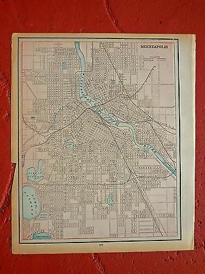 1889 Original Colored Antique Map Of Minneapolis; & St Paul On Reverse Side