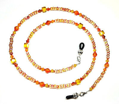 Sunflower/Fire Opal Swarovski Crystal Bead Mix Eyeglass Chain Holder