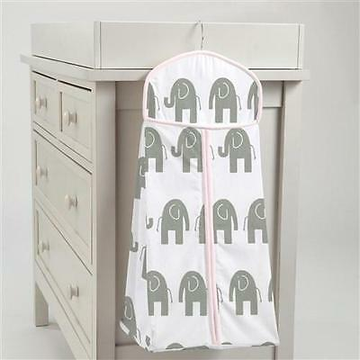 NWT Carousel Designs Diaper Stacker White with Gray Elephants and Pink Trim Baby