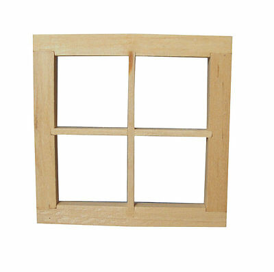 4 Pane Window / Frame, Dolls House Miniature DIY Fixture & Fittings 1.12 Scale