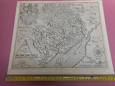 100% Original Monmouthshire  Map By Saxton Hole  C1637  Vgc Scarce
