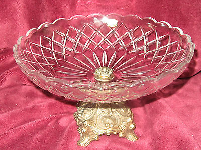 Vintage Val St Lambert Fruit Bowl Etched Signature Belgium Brass Footed Base