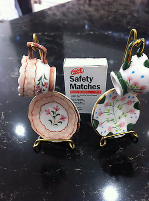 Miniature Cup and Saucer Sets (2) Handpainted on brass wire stands Rare