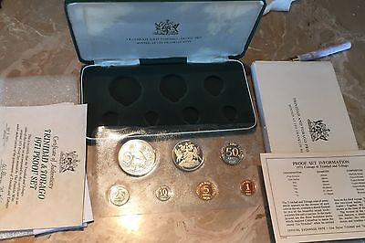 Trinadad Proof Coin Set 1971 With Silver $5 Coin Papers Case Box   theCaribbean
