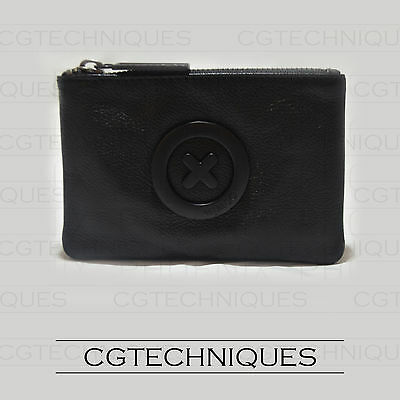 Mimco Supernatural Matte Black Small Pouch Leather Rrp $69.95