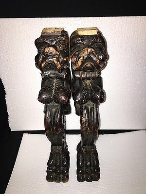 "Pr 1920's 16 7/8"" Carved Wood Winged Dog Chair Leg Pediments"