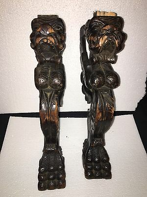 "Or 1920's 16 7/8"" Carved Wood Winged Dog Chair Leg Pediments"