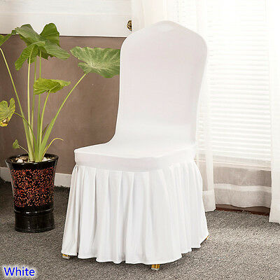 Pleated Skirt Chair Cover Lycra Spandex FLAT Front Wedding Banquets Decor White