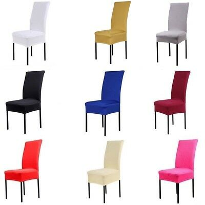 2/4/6/8 Pcs Removable Stretch Slipcovers Dining Lycra Spandex Chair Seat Cover