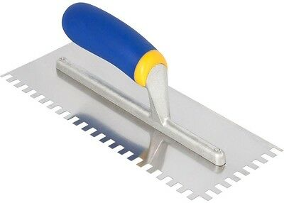 1/4 x 3/8 x 1/4 in. Square-Notch Stainless Steel Trowel with Comfort Grip