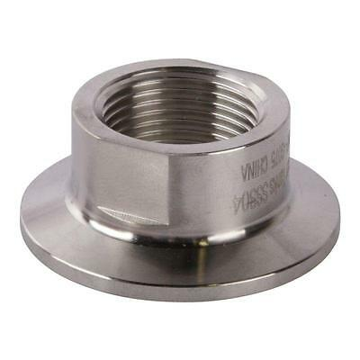 Tri Clamp/Clover to Short FNPT Adapter | 3/4 inch x 1.5 (1 1/2) Sanitary SS304