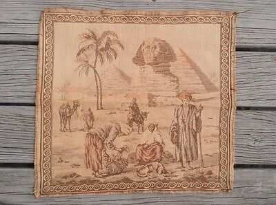 Vintage /Antique Egyptian Sphinx Of Giza Tapestry Wall Hanging Rug