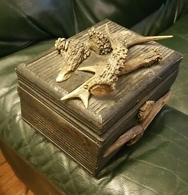 Antique American wooden box with lid Antlers & Unique, Tons of Character.