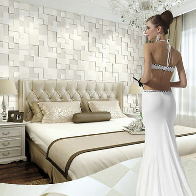 Modern Non-woven Embossed 3D Stereoscopic Mosaic Wallpaper Roll Pearl White