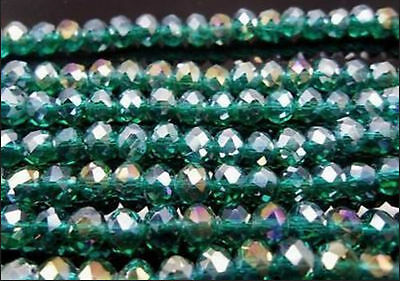 70PC Malachite green Facet+AB Crystal Loose Beads 6x8mm