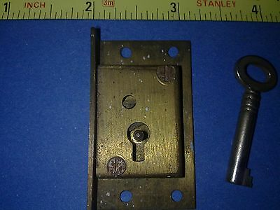 brass cabinet or cupboard lock and key, 50 mm, antique or vintage (L47)