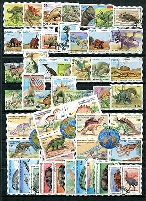 DINOSAURS Stamp Collection (50) with 36pp educational ALBUM and hinges FABULOUS!